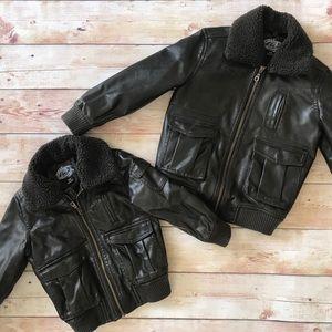 Toddler Faux Leather Bomber Jacket (Unisex)